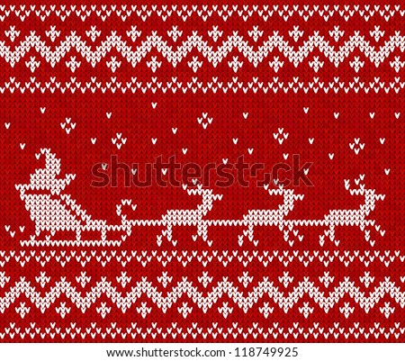 Red sweater with Santa and his deers seamless pattern - stock vector
