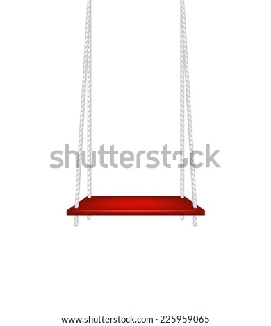 Red swing hanging on white ropes