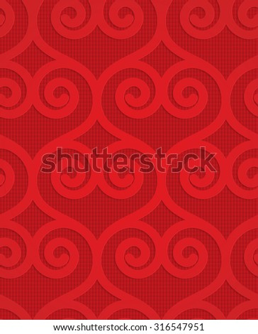 Red swirly hearts on checkered background.Seamless geometric background. 3D layered and textured pattern with realistic shadow and cut out effect. - stock vector