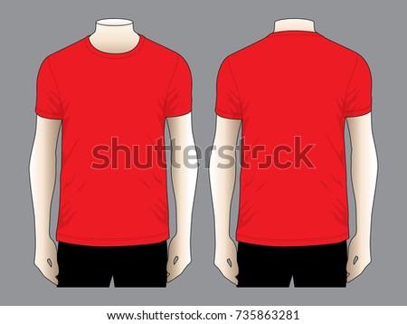 Red T Shirt Template Stock Vector Shutterstock - Red t shirt template