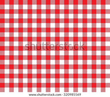 Red table cloth background seamless pattern. Vector illustration of traditional gingham dining cloth with fabric texture. Checkered picnic cooking tablecloth. - stock vector