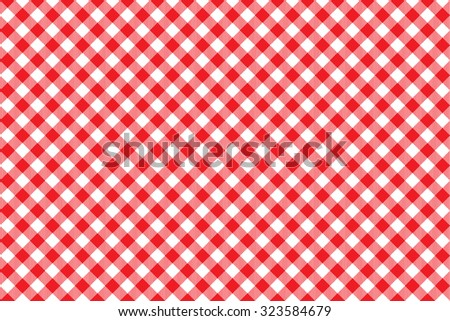 Red tablecloth diagonal background seamless pattern. Vector illustration of traditional gingham dining cloth with fabric texture. Checkered picnic cooking tablecloth. - stock vector