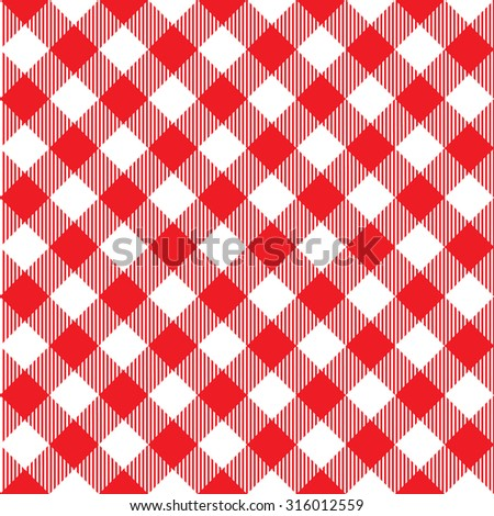 Red tablecloth diagonal seamless pattern. Vector illustration of traditional gingham dining cloth with fabric texture. Checkered picnic cooking tablecloth. - stock vector