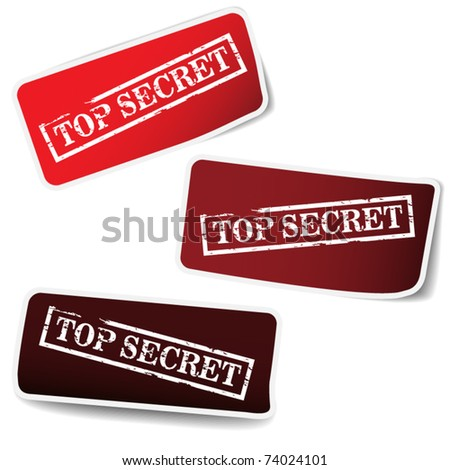 Red tags with stamp - top secret