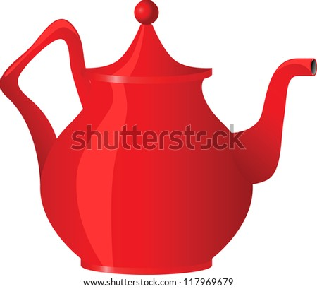 Red teapot isolated on white background, vector illustration - stock vector