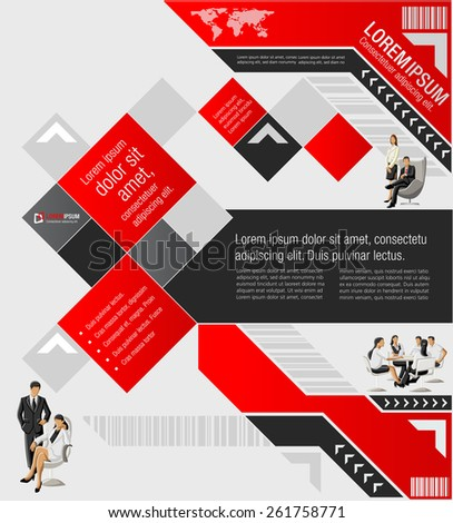 Red template for advertising brochure with business people - stock vector