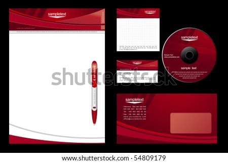 red template vector background - blank, card, cd, note-paper, envelope, pen