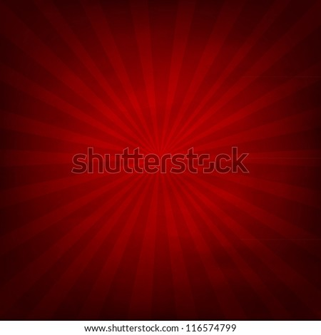 Red Texture Background With Sunburst, Vector Illustration - stock vector
