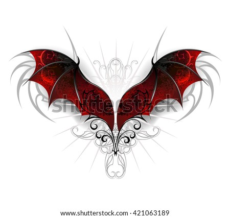 Red, textured dragon wings on a white background. Gothick style
