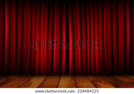Red theater curtain and wooden floor - vector illustration - stock vector