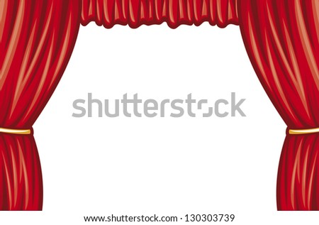 red theater curtain (curtain to theater stage) - stock vector