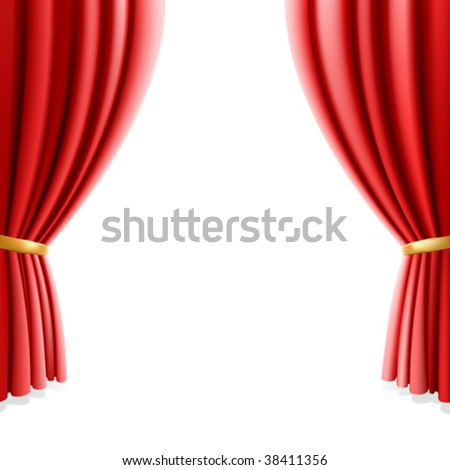 Red theater curtain on white background. Vector illustration. - stock vector