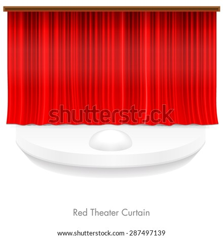 Red Theater Curtain, Vector - stock vector