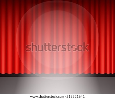 Red theater curtain with light - stock vector