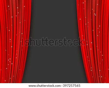 red theater curtains with glitter. abstract background with opera red drapes and glittering stars. horizontal vector illustration - stock vector