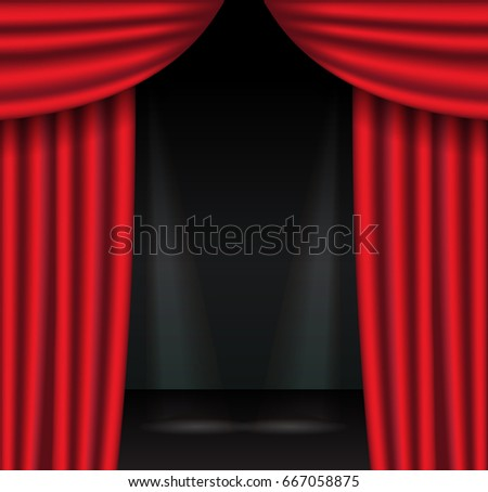 Red theater curtains with spotlight. Open velvet drapes. Vector illustration.