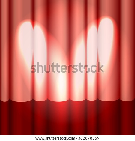 Red theatre curtain on glossy stage with spotlight. Vector illustration. - stock vector