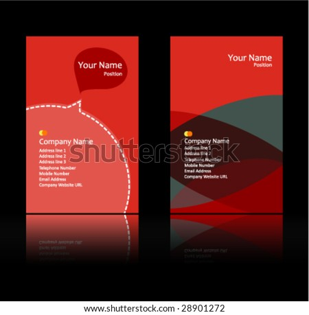 red theme business card - stock vector