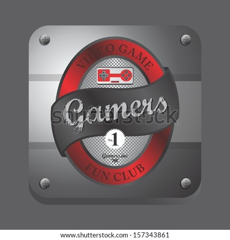 red theme video game club button label art - stock vector