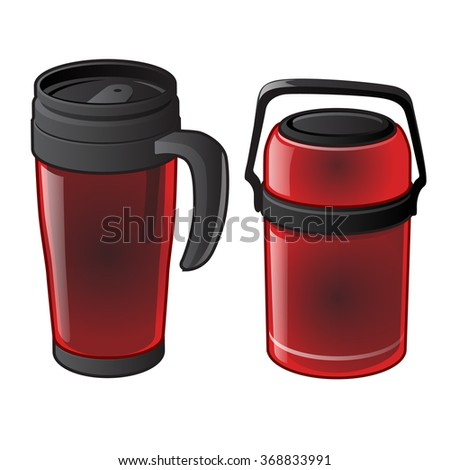 Red thermo mug and thermos. Vector. - stock vector