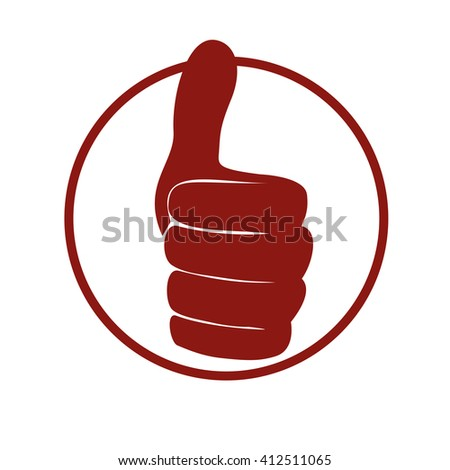 Red thumbs up icon. Like and yes, approve symbol - stock vector