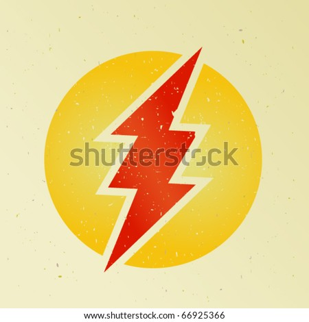 Red thunder printed on old paper - stock vector