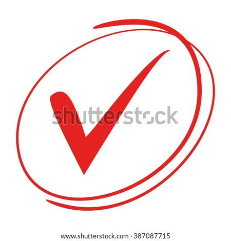 red tick symbol, check mark - stock vector