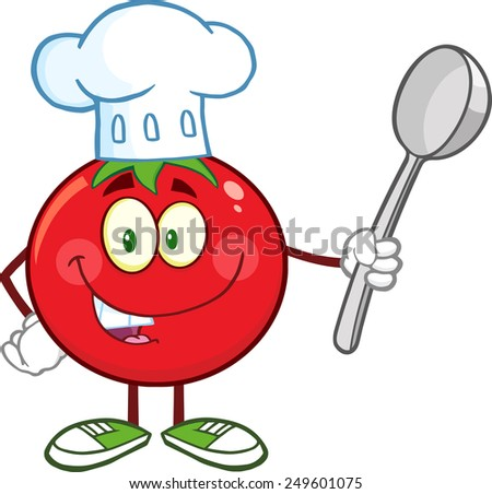 Red Tomato Chef Cartoon Mascot Character Holding A Spoon. Vector Illustration Isolated On White - stock vector
