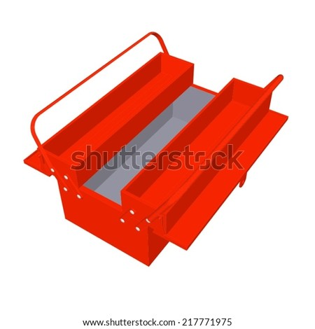 Red toolbox isolated on white background - stock vector