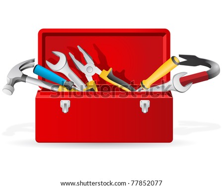 Red toolbox with tools - stock vector