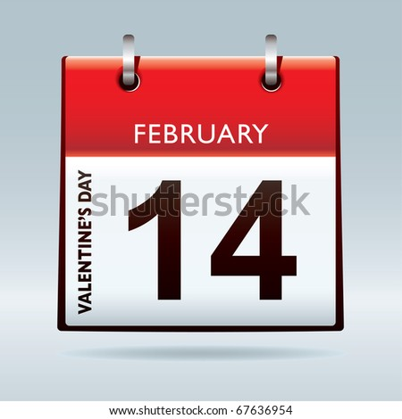 Red top calendar icon for valentines day on 14th February - stock vector