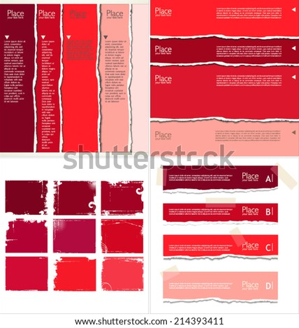 Red torn paper, collection - stock vector