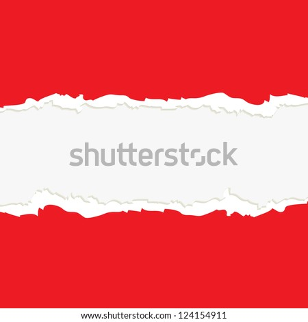 Red torn paper on white background - stock vector