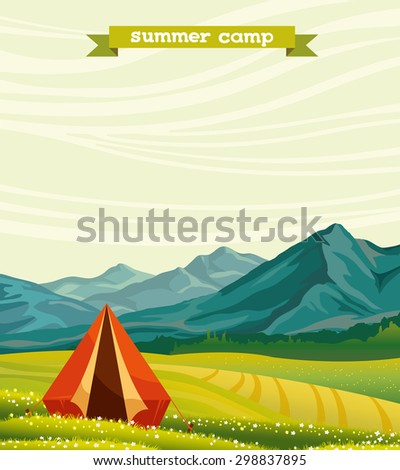 Red tourist tent and green blossom meadow on a cloudy sky. Summer camp. Natural vector landscape with space for text. - stock vector