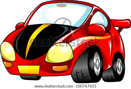 Red toy car. The new sports model (vector-illustration); - stock vector