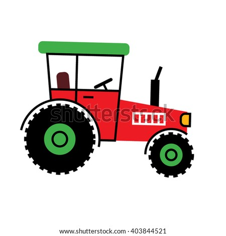 Red Tractor icon. Retro tractor Flat design. Kids Tractor vector illustration. Cute children tractor icon.