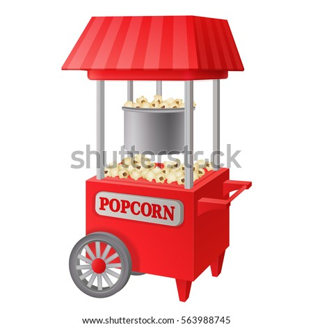 red traditional vintage carnival electric commercial popcorn popper machine cart with tent isolated on white background