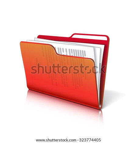 Red transparent folder with papers. Document icon. Vector illustration. - stock vector
