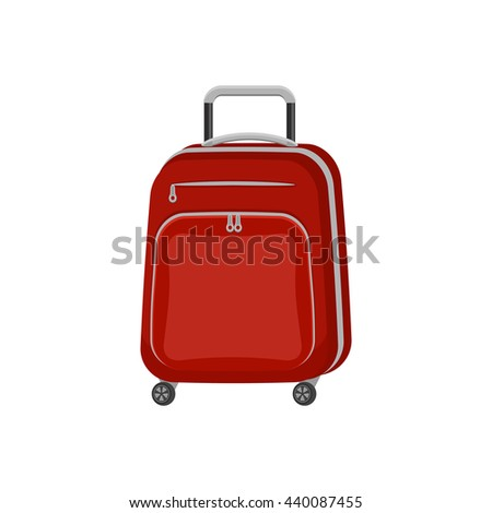 Red travel bag suitcase on isolated white background. Summer travel handle luggage. Flat vector icon illustration. - stock vector
