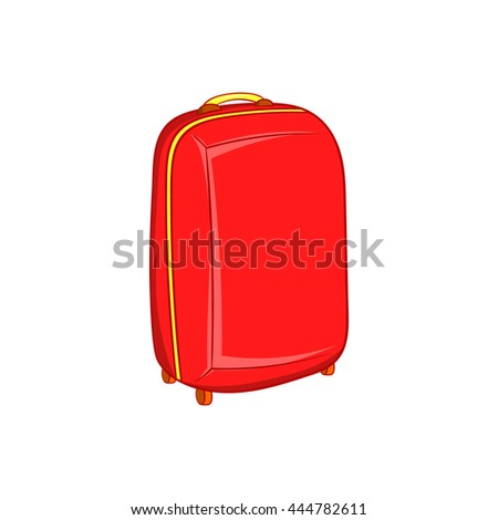 Red travel suitcase icon in cartoon style on a white background - stock vector