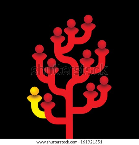 red tree of related people with one person being different. The vector graphic represents the concept of standing out from the crowd, being different, being clever & smart, family tree of hierarchy - stock vector
