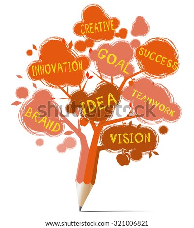 Red tree pencil with text education & business concept - stock vector