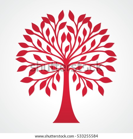 Red Tree Silhouette Round Top Decorative Stock Vector