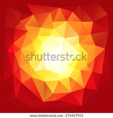 Red triangular explosion in a low poly style. EPS8 Vector - stock vector