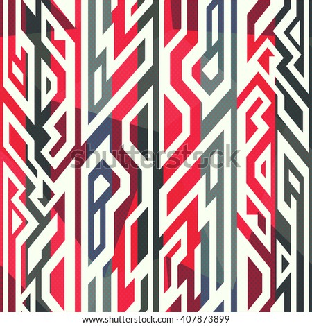 Red tribal seamless pattern.