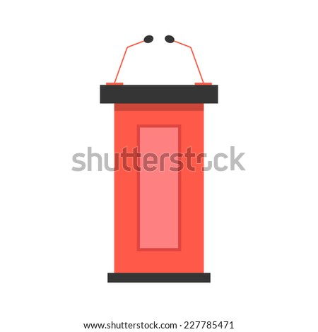 red tribune icon with microphones. concept of public speaking, conferences and report. isolated on white background. flat style design modern vector illustration - stock vector