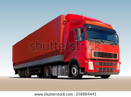 Red truck. EPS 10 format. - stock vector