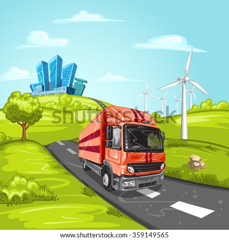 Red truck on asphalt road and modern city - stock vector