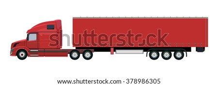 Red truck with a trailer on a white background - stock vector
