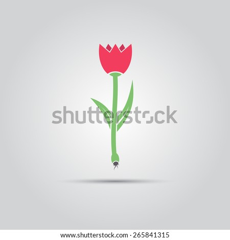 red tulip as a symbol of spring vector isolated sign - stock vector
